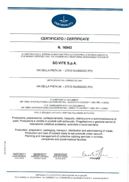 (HACCP) UNI 10854